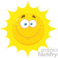 Royalty Free RF Clipart Illustration Smiling Yellow Sun Cartoon Emoji Face Character With Happy Expression Vector Illustration Isolated On White Background