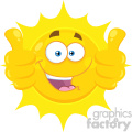 Royalty Free RF Clipart Illustration Smiling Yellow Sun Cartoon Emoji Face Character Giving Two Thumbs Up Vector Illustration Isolated On White Background