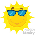 Royalty Free RF Clipart Illustration Smiling Yellow Sun Cartoon Emoji Face Character With Sunglasses Vector Illustration Isolated On White Background