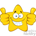 Royalty Free RF Clipart Illustration Smiling Yellow Star Cartoon Emoji Face Character Giving Two Thumbs Up Vector Illustration Isolated On White Background