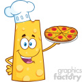 Cheese Cartoon Mascot Character Holding A Pizza Vector Illustration Isolated On White Background