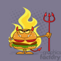 Angry Devil Burger Cartoon Character Holding A Trident Over Flames Vector Illustration With Purple Halftone Background