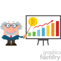 Professor Or Scientist Cartoon Character With Pointer Discussing Bitcoin Growth With A Bar Graph Vector Illustration Flat Design Isolated On White Background