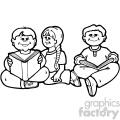 black white group of kids reading
