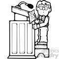 child reading at a podium black white