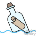 message in a bottle vector icon art