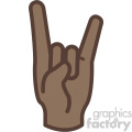 african american hand devil horns gesture vector icon