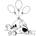 black and white tired airplane cartoon character