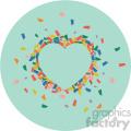 heart confetti on green background