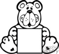Black and white cute cartoon bear holding box