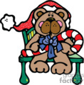 Christmas bear holding a candy cane