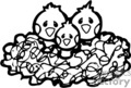 three baby birds in a nest- black and white gif, eps