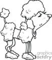 Black and white cartoon poodle
