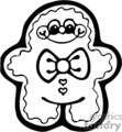 Black and White Happy Gingerbread Man with a Bow Tie