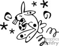 Black and White Hopping Easter Bunny With Egg