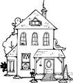 black and white haunted house