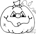 black and white cartoon pumpkin