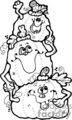 three funny cartoon jack-o-lanterns