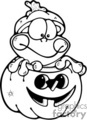 cartoon frog peaking out of a pumpkin for Halloween