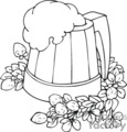 wooden mug of foamy beer surrounded by flowers and berries gif