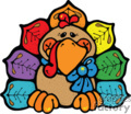 Cartoon turkey with colorful feathers and blue bow