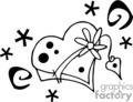 a black and white whimsical heart with stars dots and swirls gif