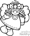 a black and white country style angel doll smiling with a big bow