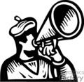 Black and white man using a loudspeaker