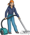 woman using a vacuum