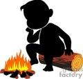 cartoon man sitting by a campfire