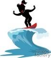 female surfing
