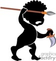 African tribesman hunting with a spear and knife