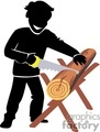 shadow people silhouette working work humans carpenter carpenters saw sawing logs wood lumberjack   people-288 clip art people shadow people  gif, jpg, eps