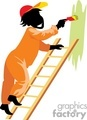 Man standing on a ladder painting the wall green