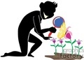 shadow people silhouette working work humans magnifying glass butterfly butterflies flower flowers   people-334 clip art people shadow people  gif, jpg, eps