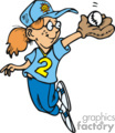 cartoon girl softball player