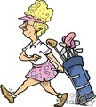 Cartoon women golfer pulling her golf clubs