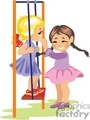 Two Young Girls Happy Playing on the Swing Together