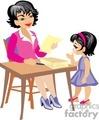 Little girl turning in her homework to her teacher