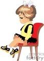 Little Brown Haired Girl Sitting on a Red Velvet Chair