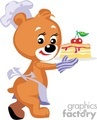 Chef teddy bear holding a cherry piece of cake
