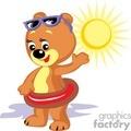 Teddy bear on a floaty with sunglasses