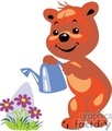 Orange teddy bear watering flowers