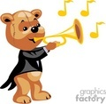 Teddy bear playing the trumpet