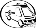 vector clip art vinyl-ready cutter black white medical health emergency ambulance truck trucks ambulances