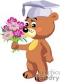 Graduated teddy bear holding flowers
