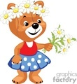 Little girl teddy picking flowers