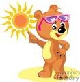 Teddy bear with sunglasses pointing at the sun