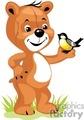 Brown teddy bear visiting with a bird