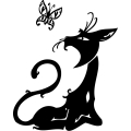 black cat watching a butterfly gif, png, jpg, eps